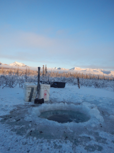 Winter, Alaska, Watering hole, Axe, Buckets